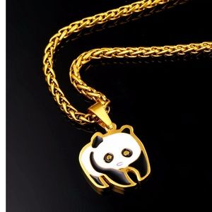 New 18k gold plated panda necklace